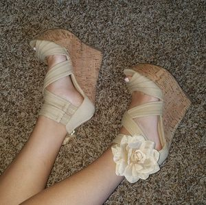 Nude Cork Wedges